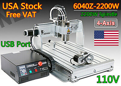 $1934 • Buy 「USA」 4 Axis 6040Z-2200W 2.2KW ER20 CNC Router Mill Drill Engraving Machine 110V