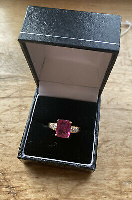 STUNNING ART DECO STYLE 15CT GOLD RUBY AND DIAMOND RING Huge 2.5ct Ruby!  • 425£