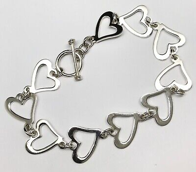 Heart Bracelet, Solid Sterling Silver. T Bar Clasp, New, Actual One, Gift Box. • 54.99£