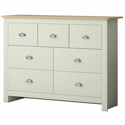 £120 • Buy 7 Drawer Merchant Chest Of Drawers Cream/ Oak - Traditional Bedroom Furniture