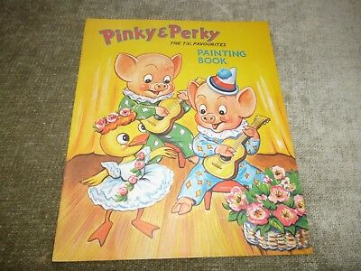 Vintage Childrens Book UNTOUCHED Pinky & Perky TV Pigs Painting Guitar C1950s • 19.99£