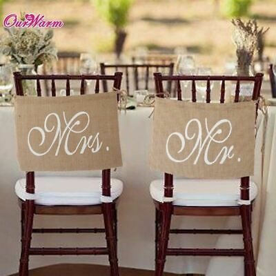 Rustic Wedding Banners Signs Mr And Mrs Chair Sign Vintage Wedding Decoration Bu • 6.85£
