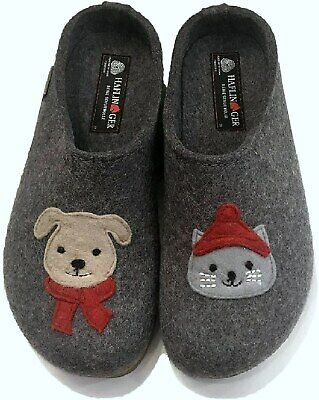 Haflinger Papai Clogs Women's Slippers Grizzly Grey Cat Dog • 68£