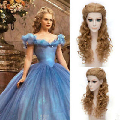 Movie Princess Cinderella Wig Long Curly Brown Anime Cosplay Wig With Braid • 16.52£