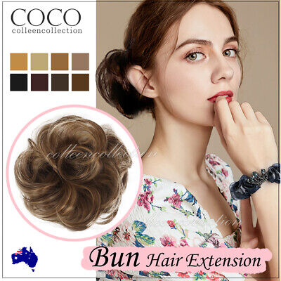 AU8.99 • Buy Natural Messy Bun Scrunchie Thick Hair Peice Curly Chignon Updo Hair Extension