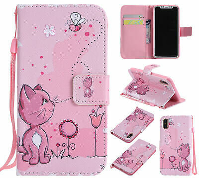 AU7.96 • Buy Hot Cute Cat Flip Leather Card Wallet Lanyard Stand Case Cover For Various Phone