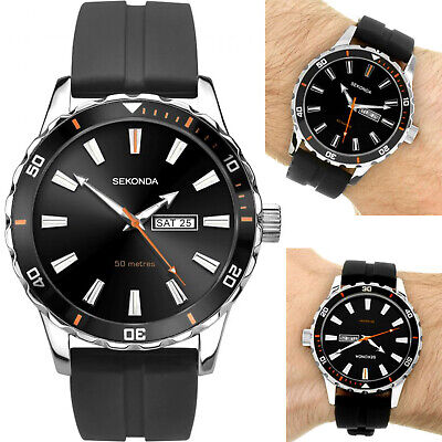 Sekonda Watch Gents Mens Black Dial With Day/Date Window & Black Rubber Strap • 32.95£