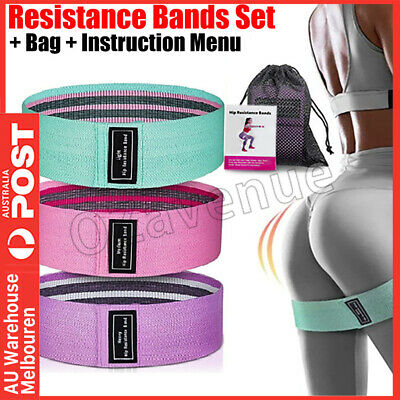 AU15.95 • Buy Resistance Booty Bands Set 3 Fabric Hip Circle Bands Workout Exercise Guide+Bag
