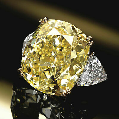 5.40Ct Canary Yellow Cushion Cut Diamond Engagement Ring In 14k White Gold Over • 107£