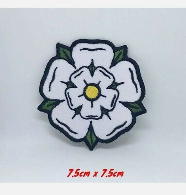 £1.90 • Buy White Yorkshire Rose Iron On Sew On Embroidered Patch