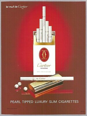 $ CDN10.14 • Buy CARTIER Pearl Tipped Luxury Slim Cigarettes - 1991 Vintage Print Ad