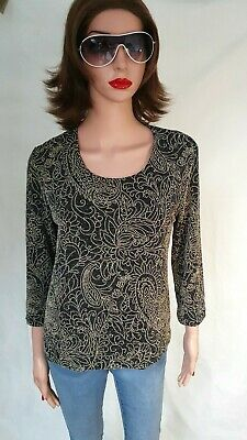 £16.50 • Buy Ladies GOLD Fitted Textured Black/gold Metalic Sparkling Xmas Party Top Size 16