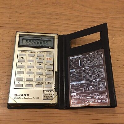 Rare Vintage Sharp El-403 World Time Calculator 1980's Credit Card Size • 14.99£
