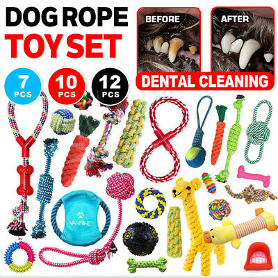 AU19.98 • Buy 11/12PCS Dog Chew Toys Rope Pet Puppy Teeth Bear Braided Tough Rubber Bite Ball