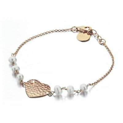 £13.99 • Buy Shimla Jewellery Ladies' PVD Rose Plated Heart Bracelet With Pearls And Cz