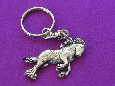Shire Horse Keyring, Silver Pewter. Made In Uk. Gift Pouch. • 5.95£