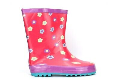 Girls Wellington Boots Girls Flower Wellies Waterproof Pink Wellingtons Size • 7.97£