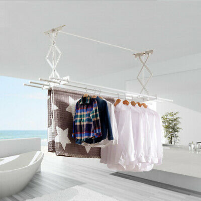 £31.16 • Buy Ceiling Mounted Retractable Pulley Clothes Airer Laundry Drying Rack Hanger UK