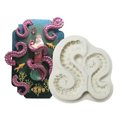 £4.99 • Buy Octopus Silicone Fondant Mould Cake Sugar Craft Decorating Baking Topper Mold 3D