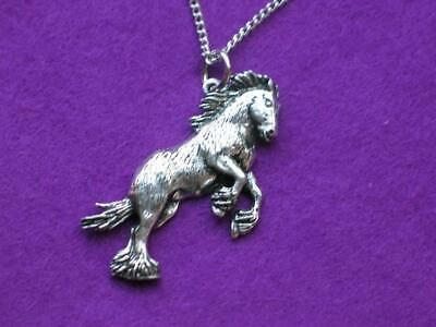 Shire Horse Pendant Silver Pewter. Made In Uk. Gift Pouch. • 6.95£