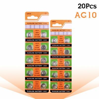 AU8.66 • Buy 20pcs AG10 LR1130 1130 SR1130 389A LR54 L1131 389A 1.55V Button Battery MP3
