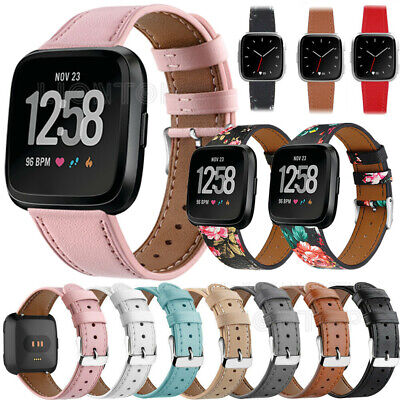 $ CDN9.14 • Buy Genuine Leather Wrist Band Strap Bracelet For Fitbit Versa 3/2/1 Lite/SE/Sense