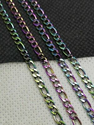 £4.85 • Buy 304 Stainless Steel Figaro Chain, Rainbow, Colourful 4.5~6x3, By Metre (PHCC 21)