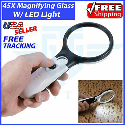 $6.59 • Buy 45X Magnifying Glass Handheld Magnifier 3 LED Light Reading Lens Jewelry Loupe