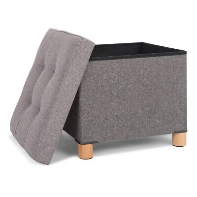 Fabric Ottoman Storage Stool Pouffe Foot Rest Padded Seat Box Bench With Legs • 18.99£
