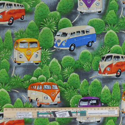 AU7.75 • Buy Quilting Patchwork Sewing Fabric On Tour VW Kombi 50x55cm FQ Material