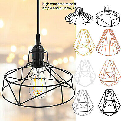 £13.99 • Buy Metal Pendant Light Shade Ceiling Industrial Geometric Wire Cage Lampshade Lamp