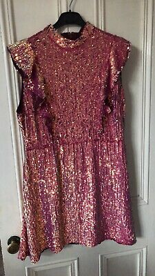 Asos Pink Gold Two Tone Sequin Dress Size 18  • 30£