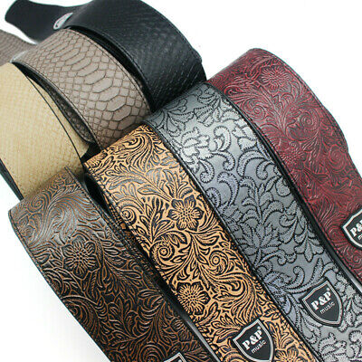 $ CDN22.84 • Buy Leather Embossed Guitar Strap Widen Adjustable For Acoustic Electric Guitars