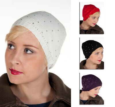 £1.99 • Buy Ladies Womens Girls Winter Cable Knit Beanie Hat Decorative Jewel Diamante Bow