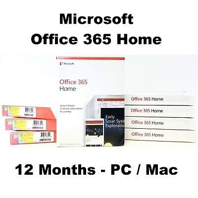 AU92.22 • Buy Microsoft Office 365 Home Up To 6 Users 1 Year PC Mac Word Powerpoint Key Card