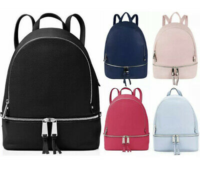 Fashion Double Zip Rucksack Soft PU Leather Backpack Travel Bag • 8.99£