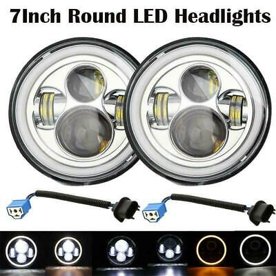 AU73.78 • Buy 2Pcs 7 Inch LED Headlights  Chrome For Dodge Ford Freightliner Mercury Jeep