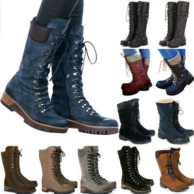 £29.79 • Buy Ladies Vintage Winter Warmer Military Combat Boots Lace Up Flat Faux Fur Booties