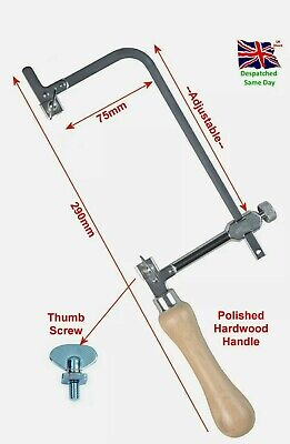 Piercing Saw Adjustable 75mm Frame Jewellers Tool Chrome Wooden Handle • 6.99£