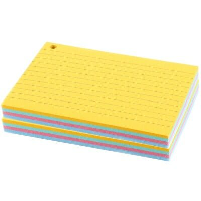 £4.98 • Buy 160x COLOURFUL INDEX CARDS Student Revision Memo Filing Lined Punched Flashcards
