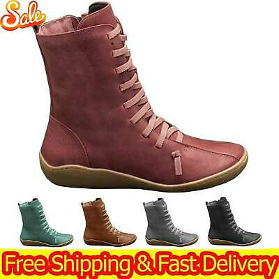 Women Boots Arch Support Ankle Suede Zip Lace Up Party Shoes Low Flat Heel Size • 18.33£
