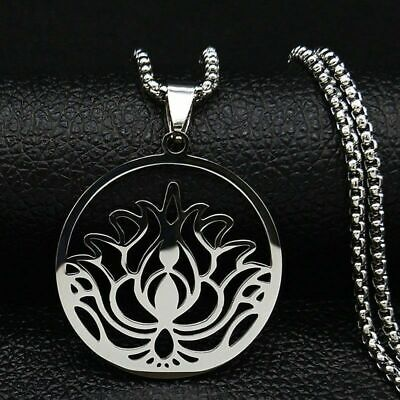 $ CDN11.48 • Buy Lotus Flower Yoga Buddhism Amulet Talisman Pendant Necklace Stainless Steel