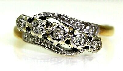 Art Deco Five Diamond Bypass 18ct Yellow Gold Platinum Ring Size J 1/2 ~ 5 • 395£