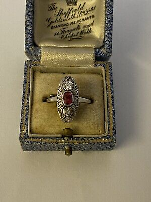 Art Deco 15ct Ruby And Diamond Ring • 695£
