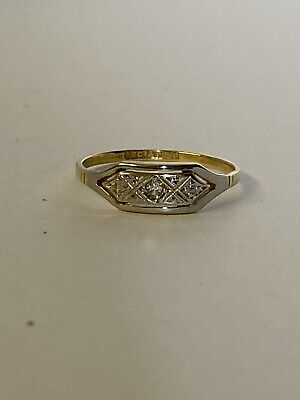 Art Deco 18ct And Platinum Diamond Ring • 185£