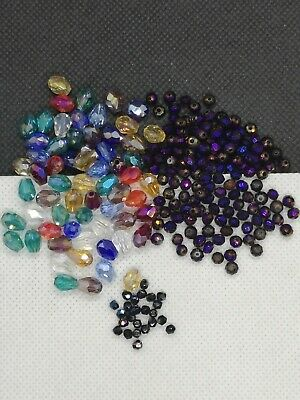 Glass Faceted Beads Mix, Electroplated, Teardrop, Rondelle, Round (MB 07) • 3.50£