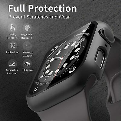 AU16.14 • Buy For Apple Watch Series 4 5 6 SE Full Body Hard Case Cover+Tempered Glass 40 44mm