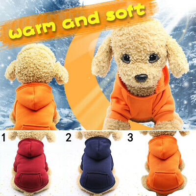 Pet Dog Hoodie Warm Winter Coat Puppy Sweater Jacket Costume Jumper Soft Clothes • 3.94£