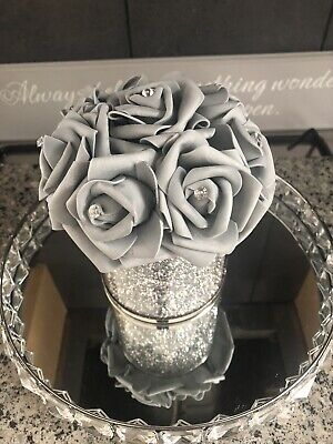 Silver Mirrored Crushed Diamond Vase With Flower & Diamantes • 25.99£