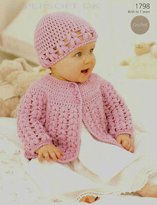 Baby Crochet  Pattern  Matinee Jacket And Hat Size Birth / 7 Yr 16/26 In Dk • 1.99£